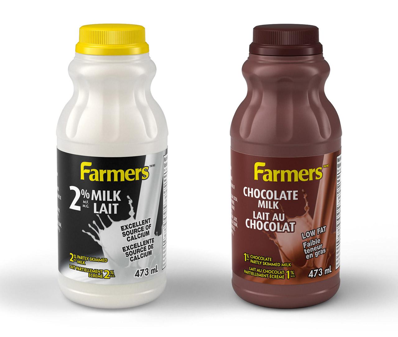 Product rendering: Milk bottles