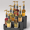 Product rendering: Coffee flavour syrup bottles in display stand